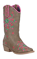 Blazin Roxx Girl's Savvy Brown with Floral Embroidery Snip Toe Western Boots