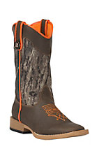 M&F Double Barrel Toddler Brown w/ Camo Buckshot Top Square Toe Western Boots
