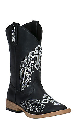 Blazin Roxx Girls' Black with Winged Cross Square Toe Western Boots