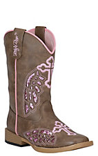 Blazin Roxx Girl's Brown with Pink Winged Cross Square Toe Western Boots