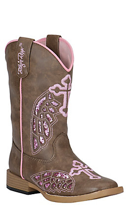 Blazin Roxx Girls' Brown with Pink Winged Cross Square Toe Western Boots