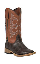 Double Barrel by M&F Childrens Bronc Chocolate Gator Print with Rust Top Zip Square Toe Western Boots