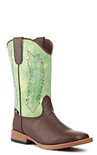 Double Barrel by M&F Children's Wyatt Brown w/ Green Top Square Toe Western Boots
