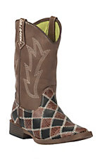 M&F Double Barrel Childrens Andy Black & Brown Patwork w/ Brown Top Square Toe Western Boots