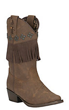 Blazin Roxx Girl's Brown with Fringe Snip Toe Western Boots