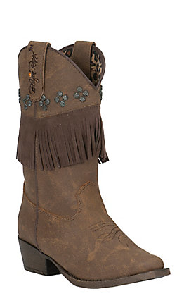 Blazin Roxx Girls' Brown with Fringe Snip Toe Western Boots