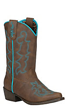 Blazin Roxx Girl's Caroline Brown with Turquoise Fancy Stitch Snip Toe Western Boots