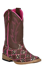 Blazin Roxx Kid's Miley Brown & Pink Leopard Patchwork Square Toe Western Boots