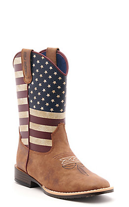 Twister Kids Brown and USA Flag Western Square Toe Boots