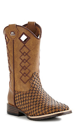 M&F Children's Brown and Tan Patchwork Basketweave Wide Square Toe Boots