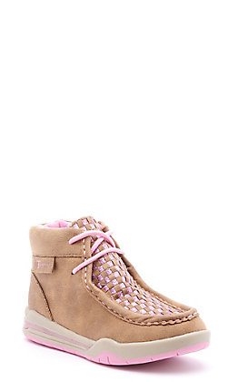 Twister Kids Brown and Pink Glitter Woven Lighted Moc Toe Shoes