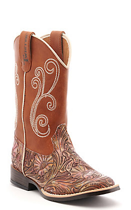 Twister Kids Multi Color Embossed and Rust Square Toe Western Boots