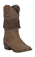 Blazin Roxx Youth Brown with Fringe Snip Toe Western Boots