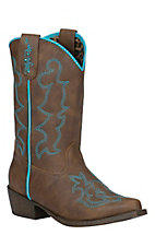 Blazin Roxx Youth Caroline Brown with Turquoise Fancy Stitch Snip Toe Western Boots