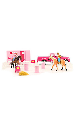 M&F Western Products Bigtime Rodeo Pink Truck Trailer and Horses Toy Set
