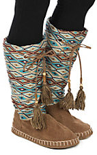Blazin Roxx Women's Brown, Turquoise and White Tall Slippers