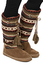 Blazin Roxx Women's Brown, Red and White Tall Slippers