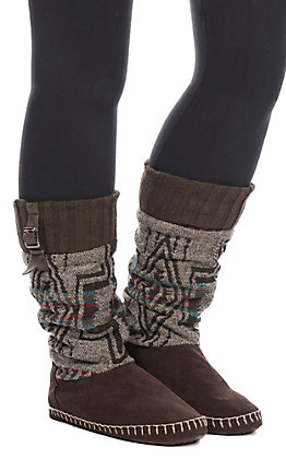 Blazin Roxx Women's Brown & Grey Madison Tall Slippers