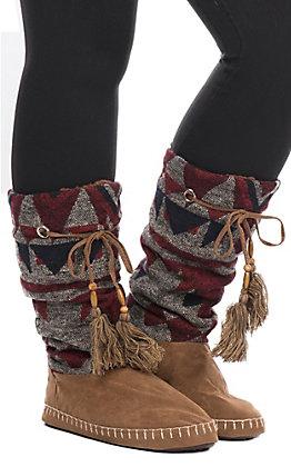 Blazin Roxx Natalie Women's Aztec Design Tan with Red & Black Tall Slippers