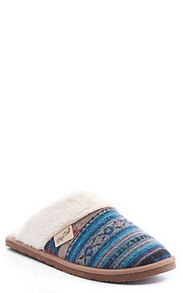 Blazin Roxx Women's Grace Turquoise & Rust Aztec Print Slippers