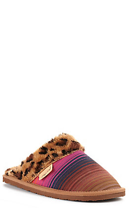 Blazin Roxx Shane Women's Pink, Blue and Brown with Leopard Fur Slip-on Slide Slipper