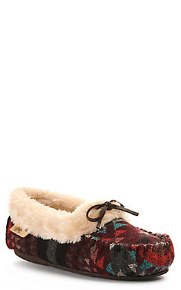 Blazin Roxx Kai Women's Burgundy and Grey Slip On Moccasin Slipper