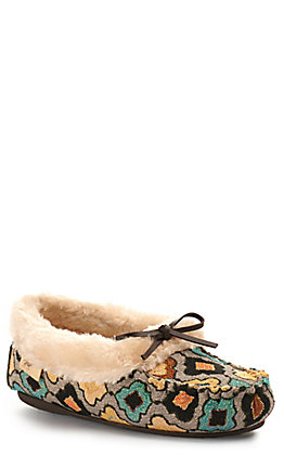 Blazin Roxx Women's Anna Grey Yellow and Blue Slip On Moccasin Slipper