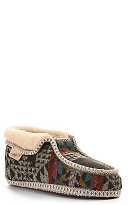 Blazin Roxx Women's Taylor Grey and Navy Faux Fur Pull On Slipper