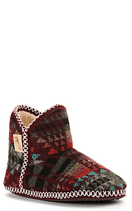 Blazin Roxx Women's Kai Burgundy and Grey Fur Ankle Slipper