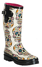 M&F Women's Cream Sugar Skull Round Toe Rain Boots