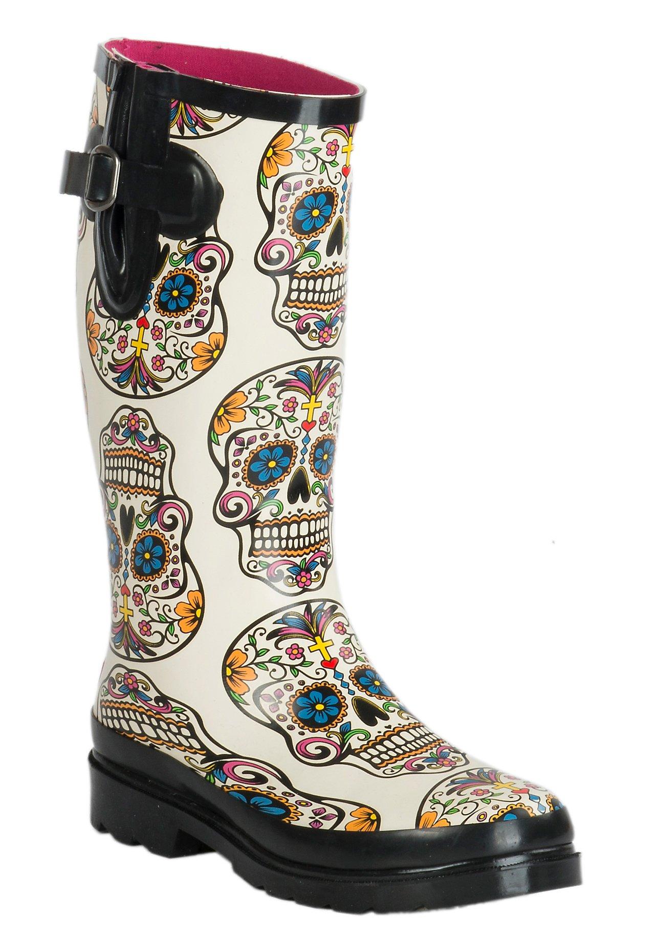 ... Blazin Roxx Women's Cream Sugar Skull Round Toe Rain Boots