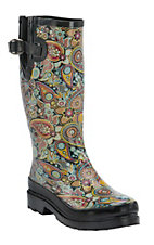 M&F Women's Multicolor Paisley Round Toe Rain Boots
