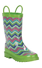 M&F Girls Lime, Pink, and Blue Chevron Print Round Toe Rainboot