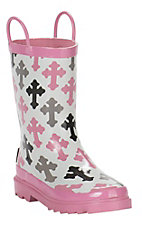 Blazin Roxx Girls Pink and White with Cross Pattern Round Toe Rain Boot
