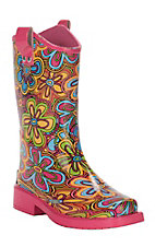 M&F Girls Pink with Multi Colored Floral Design Square Toe Rain Boots