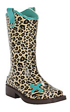 M&F Girls Cheetah Print Square Toe Rain Boots