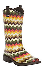 M&F Ladies Brown, Cream, Green Chevron Square Toe Rainboot