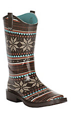 M&F Ladies Brown, Turqoise, and Red Floral Pattern Square Toe Rainboot