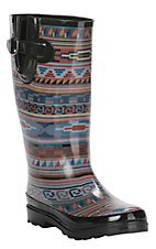 M&F Ladies Black, Purple, Red, and Blue Aztec Design Round Toe Rainboots