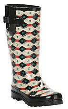 M&F Ladies Black, Cream, Red, and Green Native American Geometric Pattern Round Toe Rainboot