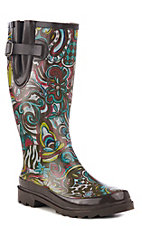 M&F Women's Brown Floral Round Toe Rain Boots