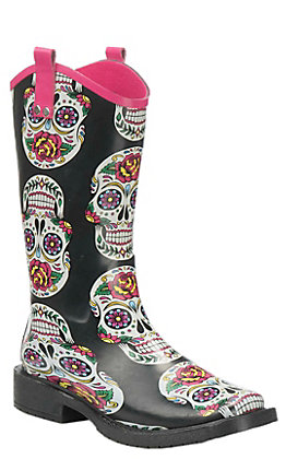 Blazin Roxx Sugar Skull Print Square Toe Rainboot