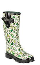 Blazin Roxx Women's Cream with Succulent Watercolor Cactus Print Rain Boot