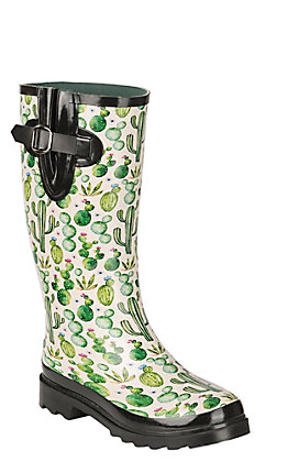 Blazin Roxx Women's Cream with Succulent Watercolor Cactus Print Rain Boots