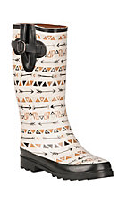Blazin Roxx Women's Mesa Cream with Gold, Silver and Black Festival Spirit Graphics Rain Boot