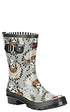 M&F Grey Feather Skull Round Toe Rain Boots
