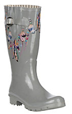 Blazin Roxx Grey Feather Round Toe Rain Boots