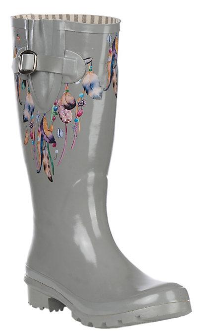 0b6a0691dd5 Blazin Roxx Women's Grey Feather Round Toe Rain Boots