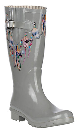 Blazin Roxx Women's Grey Feather Round Toe Rain Boots