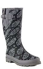 M&F Women's Matte Black & Grey Feather Print Round Toe Rain Boots